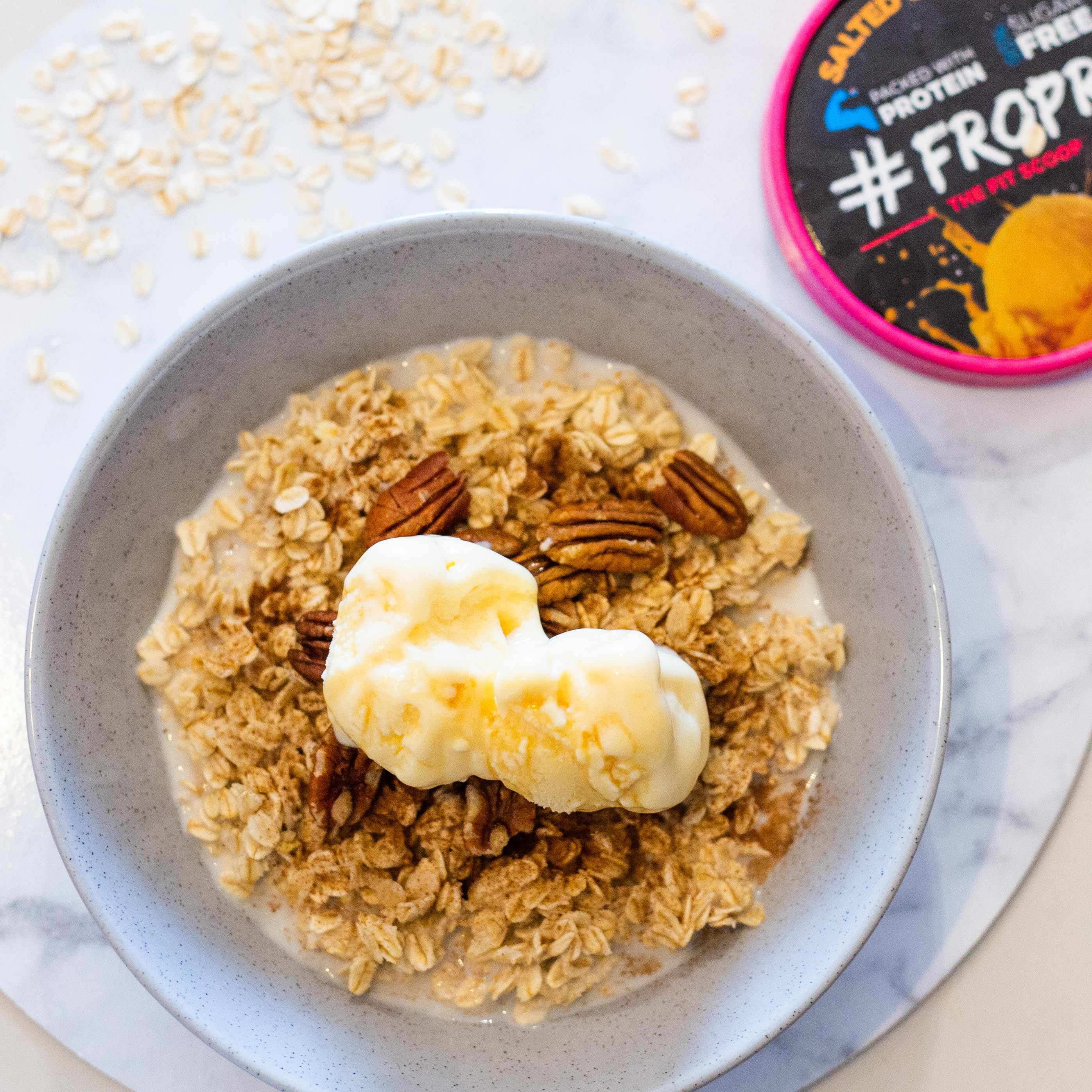 Cinnamon & Maple Winter Oats with Salted Caramel FROPRO